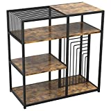 IRONCK Industrial Bookcase and Bookshelf 4 Tier, Wood Metal Shelving Unit, Floor Standing Storage Rack for Living Room Office Study Kitchen, Vintage Brown