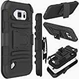 Galaxy S6 Active Case, ZENIC(TM) Hybrid Dual Layer Armor Defender Full-Body Protective Case Cover with Kickstand & Belt Clip Holster Combo for Samsung Galaxy S6 Active All Carriers (Black)