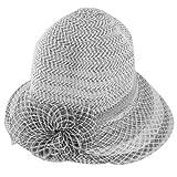 Women Black White Floral Decor Wide Visor Nylon Acrylic Poke Bonnet Hat
