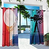 leinuoyi Cinema, Outdoor Curtain Set, Colorful Projector Silhouette with Movie Reel Vintage Design Entertainment Theme, for Patio W108 x L108 Inch Multicolor