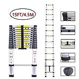 Telescopic Ladder Aluminum Extension Telescoping Ladder Foldable Extend and Climb Ladder EN131 Standard(4.5M/15Ft)