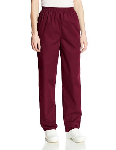Cherokee Women's Workwear Elastic Waist Cargo Scrubs Pant, Wine, Small Petite deal 50% off 51pKh 2BiDTGL