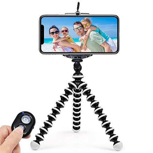 ARNIL iPhone Tripod, Tripod for iPhone Portable and Adjustable Phone Tripod Stand Holder for iPhone, Cellphone, Camera with Universal Clip and Remote Shutter