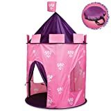 Discovery Kids Play Princess Castle Hideaway Tent for Children, Girls Indoor Pop Up Teepee Fortress Tents for Pillow Fort, Pretend Playset with Canopy for Indoors w/ Carrying Case, Pink & Purple
