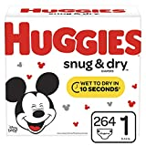Huggies Snug & Dry Baby Diapers, Size 1 (fits 8-14 lb.), 264 Count, ONE Month Supply (Packaging May Vary)