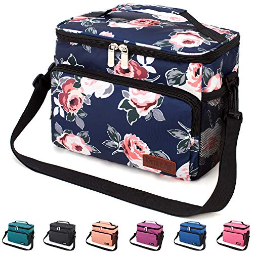 Leakproof Reusable Insulated Cooler Lunch Bag - Office Work Picnic Hiking Beach Lunch Box Organizer with Adjustable Shoulder Strap for Women,Men-Blue Flower