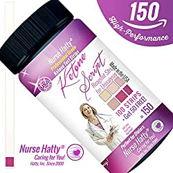 Nurse Hatty - Ketone Strips - Made in U.S.A. - High Performance Keto Test Strips Perfect for Ketogenic, Low Carb, Atkins & Paleo Diets + Free 38pg. eBook Education (100ct. + 50 Free)