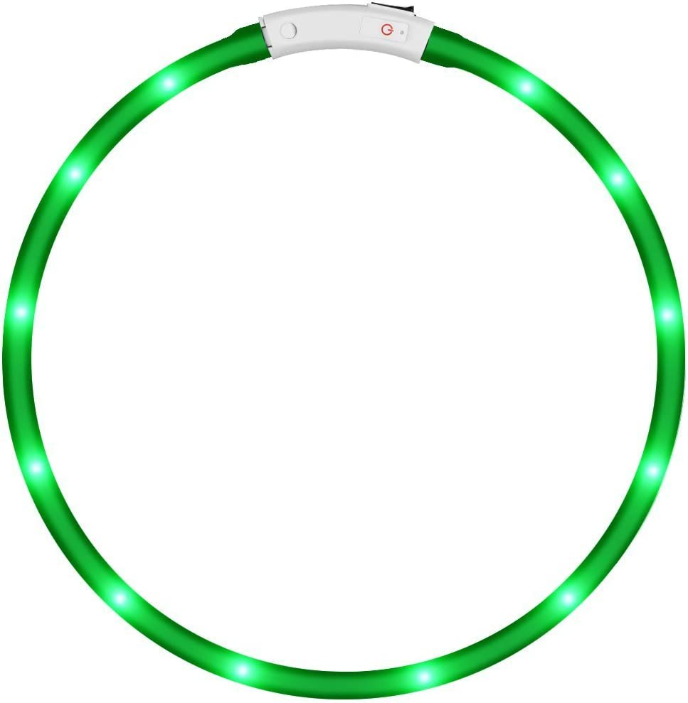KEKU LED Collar de Perro de Mascota, llevó USB Recargable Collar de Seguridad para Mascotas Impermeable hasta la Longitud de 50 cm (19.5in) Collar de Destello Ajustable (Verde)