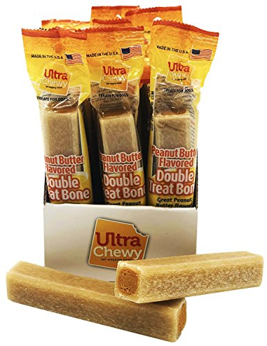 Ultra Chewy: Double Treat Bone - Peanut Butter Flavor - Dog Treats - Highly Digestible Rice Base - Promotes Plaque and Tartar Control - Perfect for Training - Two-Year Shelf Life 1