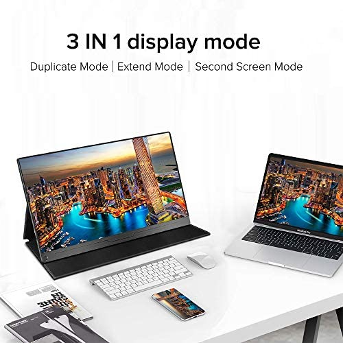 """Portable Monitor, Upgraded 15.6"""" IPS HDR 1920X1080 FHD Eye Care Screen USB C Gaming Monitor, Dual Speaker Computer Display HDMI Type-C MiniDP OTG VESA for Laptop PC MAC Phone Game Device w/Smart Case 18"""