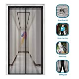 innotree 2019 Upgraded Magnetic Screen Door with 32 Magnets Heavy Duty Mesh Curtain, Fits Doors Up to 39'x82', Dogs Pets Friendly Door Screen, Black