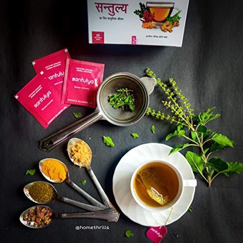 SANTULYA Organic Turmeric + Tulsi + Moringa Herbal Tea for Detox & Immunity (100 Tea Bags) 7