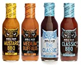 Noble Made by The New Primal Dipping Sauce Variety Pack with Classic Marinade, Medium Buffalo, Classic BBQ, and Mustard BBQ, Pack of 4