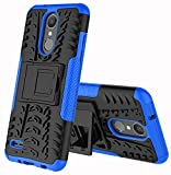 LG Zone 4 Case,LG Aristo 2/3, LG Phoenix 4, LG Tribute Empire/Dynasty SP200,LG Fortune 2,LG Risio 3,LG K8 (2018) Case,Yiakeng Wallet Hard Protective Flip Phone Cases with A Kickstand (Blue)