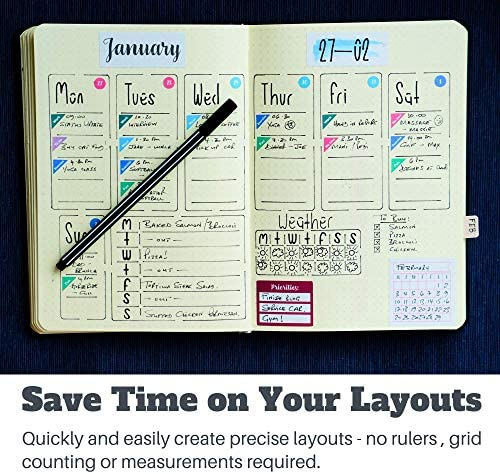 Ultimate Productivity Journal Stencil Set - Custom-Designed Supplies for Bullet Dotted Journal Planners, DIY Templates to Create Calendars, Lists, Letters, Numbers, Habit Trackers by Sunny Streak 4