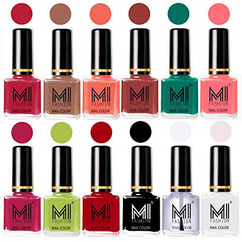 MI Fashion® Collection Long Lasting Luxury Nail Polish Combo Sets of 12-Magenta,Dark Nude,Peach,Tan,Sea Green,Pink,Pink,Lime Green,Red,Black,Top Coat,White