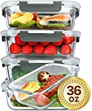 [5-Packs, 36 Oz.] Glass Meal Prep Containers with Lifetime Lasting Snap Locking Lids Glass Food Containers,Airtight Lunch Container,Microwave, Oven, Freezer and Dishwasher Safe(4.5 Cup)