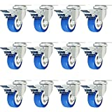 12 Pack With Brake Caster Wheels Swivel Plate Casters On Blue Polyurethane Wheels PU