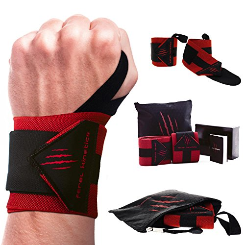 Feral Kinetics ​Wrist Wraps with Thumb Loops 18' (Pair) - for Weight Lifting, Powerlifting, Weight Training, Body Building, Strength Training