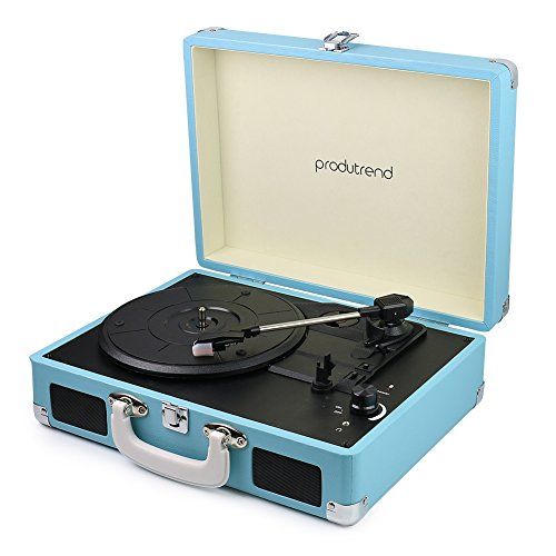 """Vintage Portable Turntable - 3 Speed Record Player Suitcase - Built in Stereo Speaker and Battery - 1/8"""" Stereo Headphone Jack, Aux Input, RCA Output – Blue VinylPal by ProduTrend"""