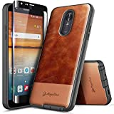LG K40 Case, LG Solo LTE /K12 Plus/LG X4 (2019) with Tempered Glass Screen Protector (Full Coverage), NageBee Premium [Cowhide Leather] Armor Shockproof Dual Layer Hybrid Rugged Durable Case -Brown