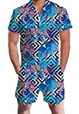 AIDEAONE Mens Romper Jumpsuit Casual Short Pants Bro Rompers Slim Fit Party Tropical Leopard Overalls for Adults