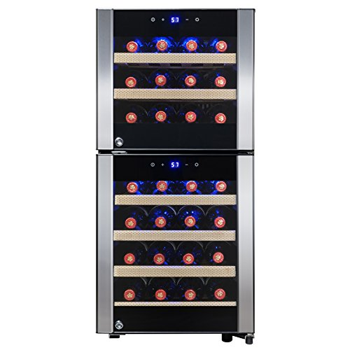 AKDY Wine Cooler Refrigerator - Beverage Chiller Fridge - Built-in Compressor - 33-Bottle Capacity - Red & White Wine - Electronic Temperature Control - Removable Shelves - Frost-Free - Ultra-Elegant