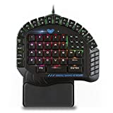 AULA One Handed Merchanical Gaming Keyboard RGB Backlit Gaming Keypad, Programmable Blue Switch One-Hand Keyboard