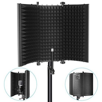 Neewer-Professional-Studio-Recording-Microphone-Isolation-Shield-High-Density-Absorbent-Foam-is-Used-to-Filter-Vocal-Compatible-with-Blue-Yeti-and-Any-Condenser-Microphone-Recording-Equipment
