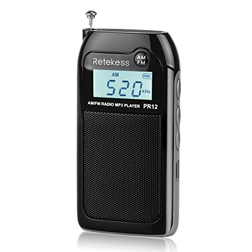 Retekess PR12 Portable Radio AM FM Transistor Radio Walkman Radio Pocket DSP Walkman Radio MP3 Player Support TF Card Earphone with Rechargeable Battery (Black)