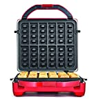 Throwback (60047) 3-In-1 Multifunction Countertop Mini Cupcake Donut & Waffle Maker, Stainless Steel & Red