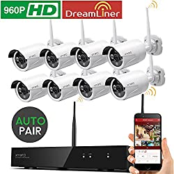 [Dream Liner WiFi Booster] xmartO WOS1388 8 Channel 960p HD Wireless Security Camera System with 8 HD Outdoor Wireless IP Cameras (Auto-Pair, Built-in Router, 1.3MP Camera, No HDD)