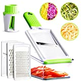 Mandoline Slicer - 5 Interchangeable Blades - Vegetable Slicer, Cheese Grater, Zester, Julienne Mandoline Slicer & Veggie Spiralizer