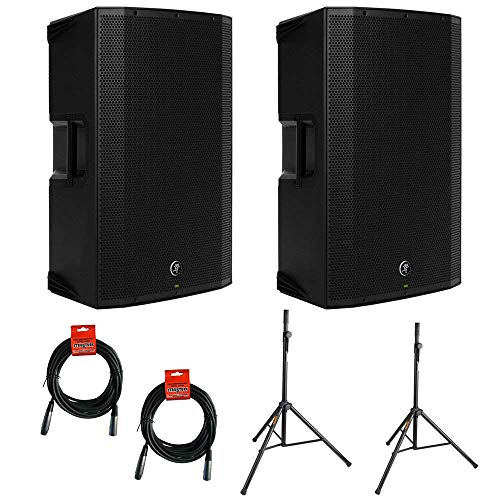 Mackie Thump12A - 1300W 12' Powered Loudspeaker Bundle (Single) with Steel Speaker Stand and XLR-XLR Cable