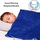 5 Lbs Calming Weighted Blanket for Kids - 36' x 48' Children Heavy Blanket for Sleeping with Minky Cover - Blue Kid Comfort Sensory Blankets Premium Quality for Boys