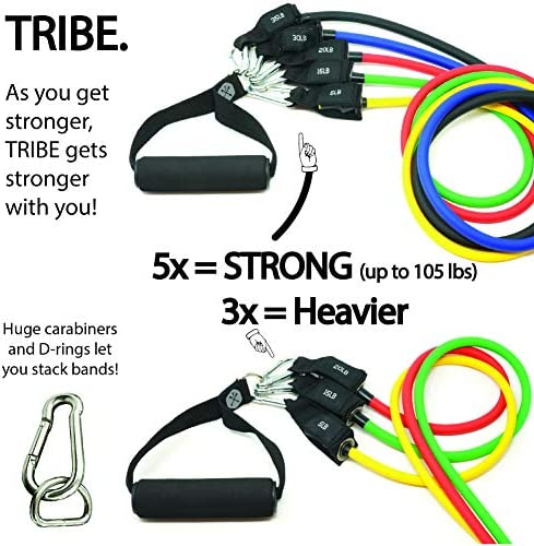 Tribe 11PC Premium Resistance Bands Set, Workout Bands - with Door Anchor, Handles and Ankle Straps - Stackable Up To 105 lbs - For Resistance Training, Physical Therapy, Home Workouts, Yoga, Pilates 4