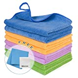 8PCS Cleaning Towels for House - Softer Absorbent Cleaning Rags for House, Kitchen Car Glass Stainless Steel Premium Microfiber Cleaning Cloths, 2PCS Screen Cloth as Gift