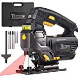 Jigsaw, TECCPO Professional Jig Saw with Laser Guide, 6pcs Blades, Carrying Case,78.74 Inches Cord, Scale Ruler, Bevel Cutting Angle(-45°-45°), Variable Speed Dial, 3000SPM, Pure Copper Motor -TAJS01P