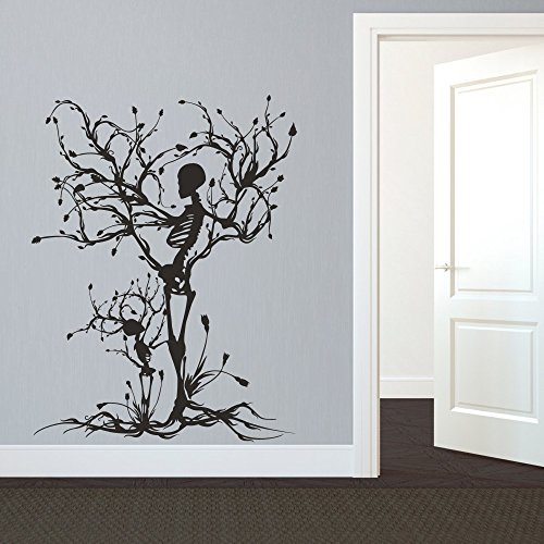 MairGwall Gothic Wall Decal Halloween Decor Skeleton Art Sticker Tree Wall Art For Living Room (Large,Black)