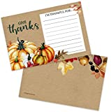 40 Thanksgiving I Am Thankful for Fill in Gratitude Cards- Plate Setting or Activity for Familes Adults & Kids - Fall Autumn Leaves Pumpkins Decorations Supplies (4x6 Double Sided)