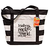 Teacher Peach Inspirational Canvas Teacher Tote Bag, Utility Teacher Bag with Outside Pocket, Perfect Teacher Appreciation Gift for Women