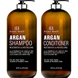 BOTANIC HEARTH Argan Oil Shampoo and Conditioner Set - with Keratin, Restorative & Moisturizing - Sulfate & Paraben Free - for All Hair Types and Color Treated Hair, Men and Women - 16 fl oz x 2