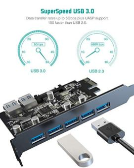 Tiergrade-Superspeed-7-Ports-PCI-E-to-USB-30-Expasion-Card-with-15-Pin-SATA-Power-Connector-PCI-ExpressPCIe-Expansion-Card-USB-Card-for-Desktop-PC-Support-Windows-108187XP