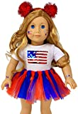 My Genius Dolls 4th of July Patriotic Doll Clothes. Fit 18 inch Dolls Like Our Generation Doll My Life Doll American Girl Doll. Accessories | Reversible Sequin USA Flag, Tutu, Headband, Cute Stickers