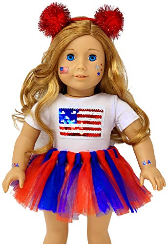 My Genius Dolls USA Patriotic Doll Clothes. Fit 18 inch Dolls like Our Generation Doll My Life Doll American Girl Doll. Accessories | Reversible sequin USA flag, Tutu, Headband, Cute Stickers