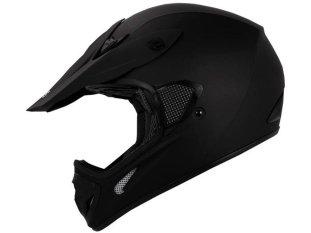 TMS Adult Flat Matte Black Motocross Dirt Bike Helmet