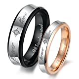 "Dreamslink ""Forever Love"" Black & Rose Gold Plated Stainless Steel Titanium Wedding Band Couple Rings 283 M11"