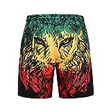 NUWFOR Men Casual 3D Graffiti Printed Beach Work Casual Men Short Trouser Shorts Pants XL Waist:33.9-41.7'