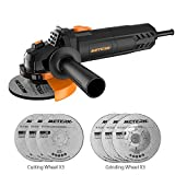 Meterk Electric Angle Grinder 6A 4-1/2inch with 115mm 3 Grinding Abrasive Wheels 3 Cutting Abrasive Wheels