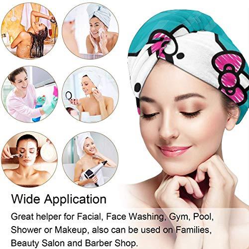 Hair Towel Wrap Turban Kawaii Hello Kitty Microfiber Drying Bath Shower Head Towel With Button, Dry Hair Hat